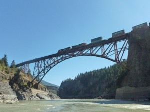 Photo of the railway bridges built across the Fraser. We saw evidence everywhere on the canyon walls about the difficulties that Chinese railway workers faced in building the CPR up the Fraser in the 1880s.